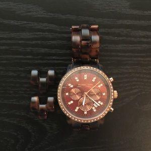Michael Kors Tortoise Rose Gold Acetate Watch